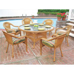 "Resin Wicker Dining Set 60"" Round - GOLDEN HONEY"