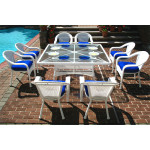 "Resin Wicker Dining Set 66"" Square - WHITE"