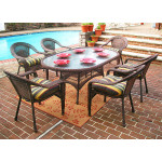 "Resin Wicker Dining Set 72""' Oval - ANTIQUE BROWN"