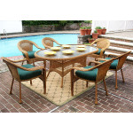 "Resin Wicker Dining Set 72""' Oval - GOLDEN HONEY"