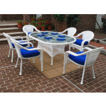 "Resin Wicker Dining Set 72""' Oval - WHITE"