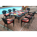 "Resin Wicker Dining Set 96"" Rectangular - BLACK"