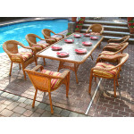 "Resin Wicker Dining Set 96"" Rectangular - GOLDEN HONEY"