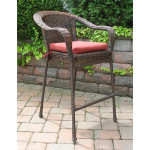 Resin Wicker Bar Stools - ANTIQUE BROWN