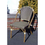 Resin Wicker Cafe Dining Chairs - Antique Brown & Ivory