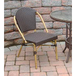Resin Wicker Cafe Dining Chairs - Antique Brown