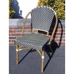 Resin Wicker Cafe Dining Chairs - Black & Ivory
