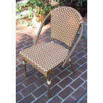 Resin Wicker Cafe Dining Chairs - Golden Honey & Ivory