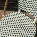 Resin Wicker Cafe Dining Chairs - Ivory & Hunter Green Inset