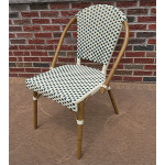Resin Wicker Cafe Dining Chairs - Ivory & Hunter Green
