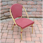 Resin Wicker Cafe Dining Chairs - Cranberry Red