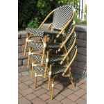 Resin Wicker Cafe Dining Chairs - Stacked, Black & Ivory