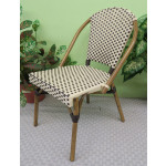 Resin Wicker Cafe Dining Chairs - Ivory & Antique Brown