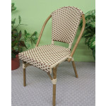 Resin Wicker Cafe Dining Chairs - Ivory & Saddle Brown