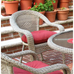 Resin Wicker Dining Chair With Cushion - DRIFTWOOD
