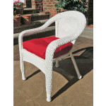 Resin Wicker Dining Chair With Cushion - WHITE-SP-3613