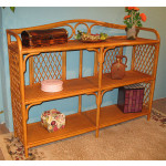 Wicker Floor Shelf, Caramel & Wide -
