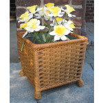 Resin Wicker Planter with Galvanize Insert - GOLDEN HONEY