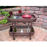 Resin Wicker Serving Cart with inset Glass Shelves - ANTIQUE BROWN