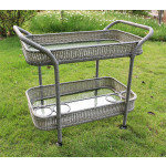 Resin Wicker Serving Cart with inset Glass Shelves - DRIFTWOOD