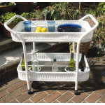 Resin Wicker Serving Cart with inset Glass Shelves - WHITE