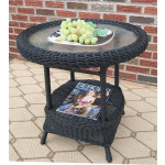 Round Resin Wicker End Table - BLACK