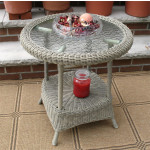 Round Resin Wicker End Table - DRIFTWOOD