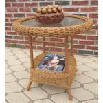 Round Resin Wicker End Table - GOLDEN HONEY