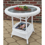 Round Resin Wicker End Table - WHITE