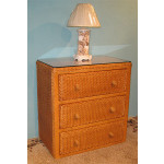 Traditional 3 Draw Wicker Bedroom Dresser Chest - CARAMEL