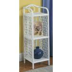 Wicker Floor Shelves, Slim, 3 Shelves, White -