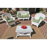 4 Piece Naples Wicker Furniture Set with 2 Chairs - WHITE