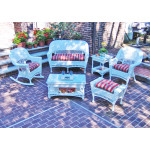 4 Piece White Vineyard Wicker Furniture Set with 2 Chairs - WHITE