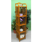 Wicker Floor Shelves, 5 Slim Shelves, Tea Wash -
