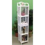 Wicker Floor Shelf, 5 Slim Shelves, White -