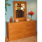 Traditional 6 Drawer Wicker Bedroom Dresser with Glass Top - CARAMEL