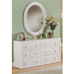 Traditional 6 Drawer Wicker Bedroom Dresser with Glass Top -