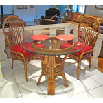"Natural Rattan Dining Set 36"" Savannah (3 frame colors) - TEAWASH"