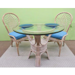 "Natural Rattan Dining Set 36"" Savannah (3 frame colors) - WHITEWASH"