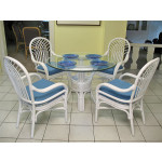 "Savannah 42"" Round Rattan Dining Sets - WHITE"