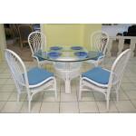 "Savannah 48"" Round Rattan Dining Set - WHITE"