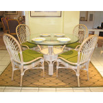 "Savannah Rattan Dining Set 48"" Round - WHITEWASH"