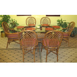 "Natural Rattan Oval Dining Set Savannah 72"" Oval (White or Brown) - TEAWASH"