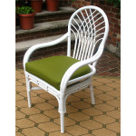 Savannah Rattan Dining Arm Chair  - WHITE WITH OLIVE