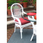 Savannah Rattan Dining Arm Chair  - WHITE WITH RED