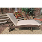 Siesta Wicker Chaise with Adjustable Back and Cushion - ANTIQUE BROWN-SIDE VIEW
