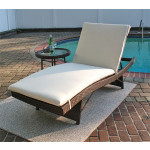 Siesta Wicker Chaise with Adjustable Back and Cushion - ANTIQUE BROWN