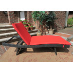 Siesta Wicker Chaise with Adjustable Back and Cushion - BLACK-SIDE VIEW