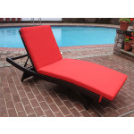 Siesta Wicker Chaise with Adjustable Back and Cushion - BLACK