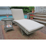 Siesta Wicker Chaise with Adjustable Back and Cushion - DRIFTWOOD WITH NATURAL FABRIC